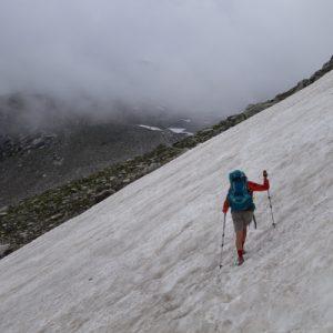 Mehrere Schneefelder galt es zu überqueren