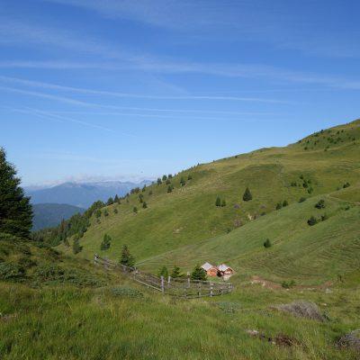 Anfangs sind wir über Hügel und Almwiesen gelaufen