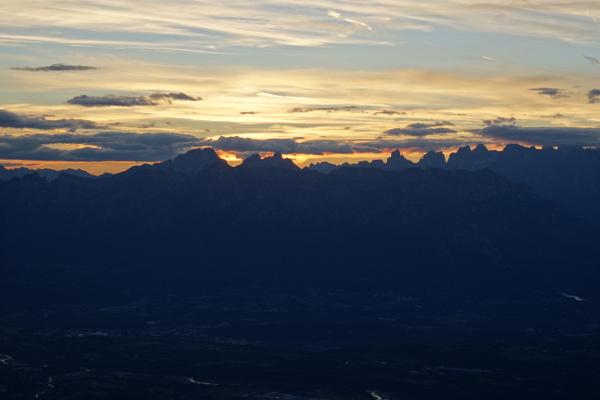 Sonnenuntergang vom Rifugio Col Visentin