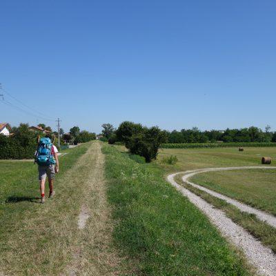 Am Damm entlang nach Ponte dalle Priula