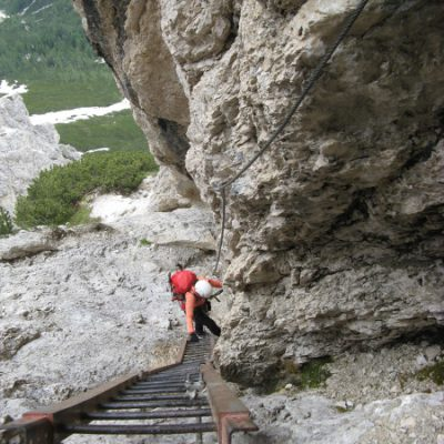 Die Leiter im Klettersteig